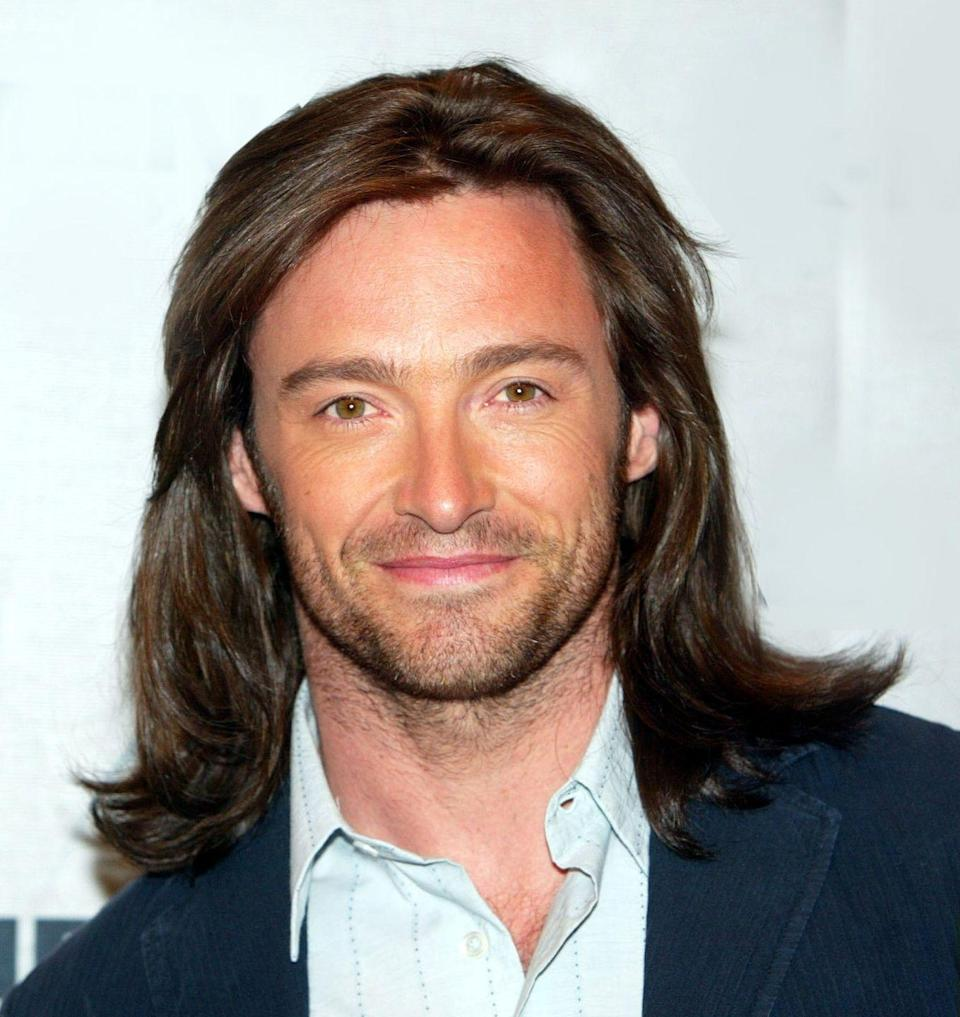 <p>Trust us this, is not Photoshopped. Back in 2003, Hugh Jackman sported a longer layered look for his role in <em>X-Men. </em>It's very different from the short, polished cut we're used to seeing on him.</p>