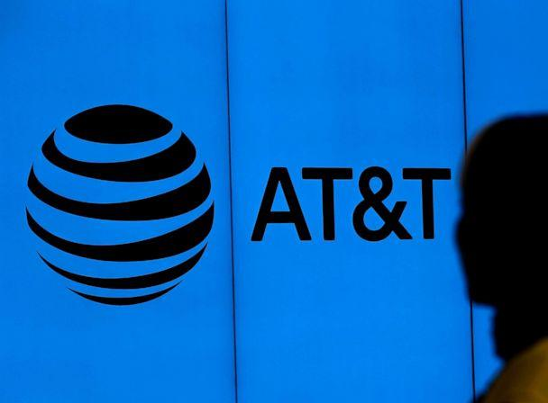 PHOTO: The logo of AT&T is visible outside of AT&T corporate headquarters on March 13, 2020, in Dallas, Texas. (Ronald Martinez/Getty Images)