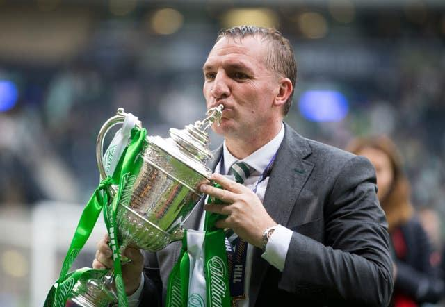 Brendan Rodgers with Scottish Cup after Celtic beat Aberdeen to complete a treble