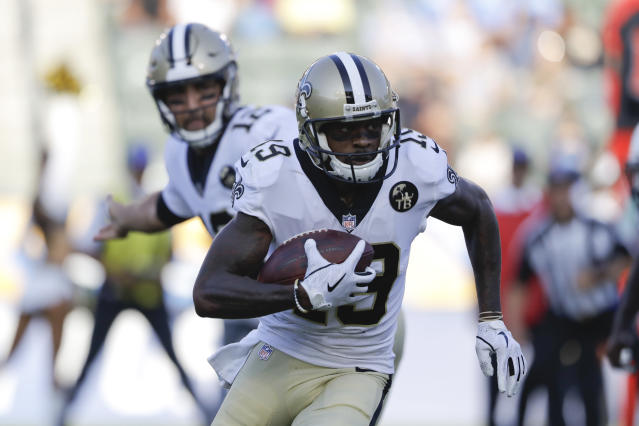 FILE - In this Saturday, Aug. 25, 2018 file photo, New Orleans Saints wide receiver Ted Ginn runs with the ball during the first half of an NFL preseason football game against the Los Angeles Chargers in Carson, Calif. Saints receiver Ted Ginn Jr. says speed remains his most distinguishing asset as he enters his 13th NFL season. The 34-year-old former Ohio State star says he worried knee problems that wiped out much of last season might force his retirement. But now he says hes confident he remains among footballs fastest after offseason workouts emphasizing agility and flexibility and a change in diet. (AP Photo/Marcio Jose Sanchez, File)