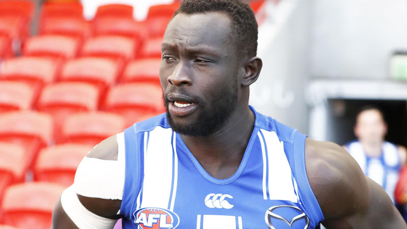 Majak Daw was one of 11 players to be cut from North Melbourne's AFL list on Friday, at the conclusion of a disappointing 2020 season for the Kangaroos. (Photo by Ryan Pierse/Getty Images)