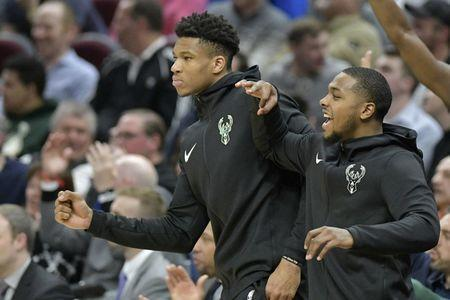 Mar 20, 2019; Cleveland, OH, USA; Milwaukee Bucks forward Giannis Antetokounmpo (34) reacts on the bench in the fourth quarter against the Cleveland Cavaliers at Quicken Loans Arena. Mandatory Credit: David Richard-USA TODAY Sports
