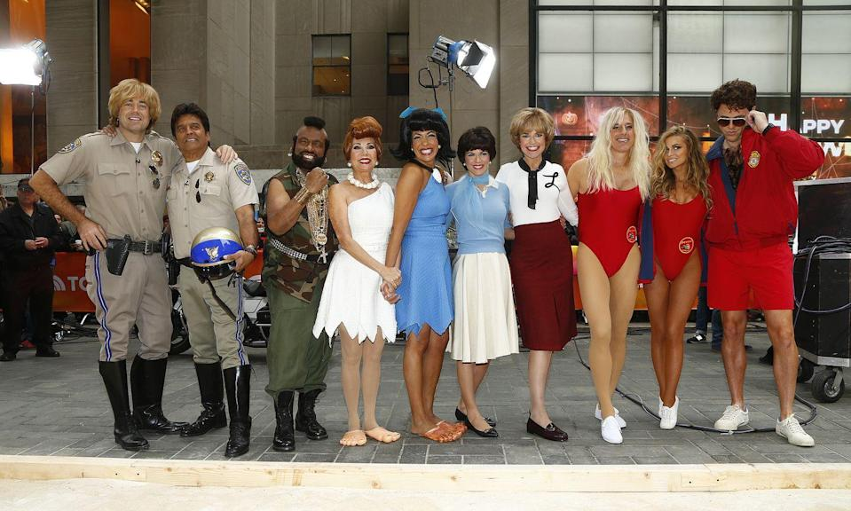 <p>The <em>Today</em> show relived their favorite classic TV shows in 2013 while also pointing out another fun theme: best friends! From left to right, Carson Daly and guest star Erik Estrada dressed up as <em>CHiPs</em> stars Jon and Ponch, Al Roker went as Mr. T from <em>The A-Team</em>, Kathie Lee Gifford and Hoda Kotb dressed up as BFFs Betty and Wilma from <em>The Flintstones</em><em>, </em>and Natalie Morales and Savannah Guthrie dressed up as sitcom roomies from <em>Laverne & Shirley. </em></p>