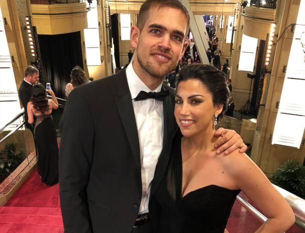 PHOTO: Rayka Zehtabchi and Sam Davis pose on the steps on the Dolby Theatre before entering the Oscars ceremony. (Netflix)