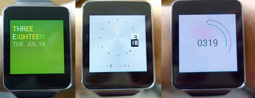 Three watches showing different clock faces