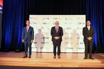[From left to right] Robert C. Garrett, FACHE, chief executive officer of Hackensack Meridian Health; Gary D. St. Hilaire, president and CEO of Horizon Blue Cross Blue Shield of New Jersey (Horizon BCBSNJ); and John Doll, CPA, Executive Vice President, Chief Financial Officer of RWJBarnabas Health today announced the formation of Braven Health, the first-of-its-kind Medicare Advantage plan, that will enhance the health care experience for New Jerseyans, at the Hackensack Meridian School of Medicine in Nutley, New Jersey.