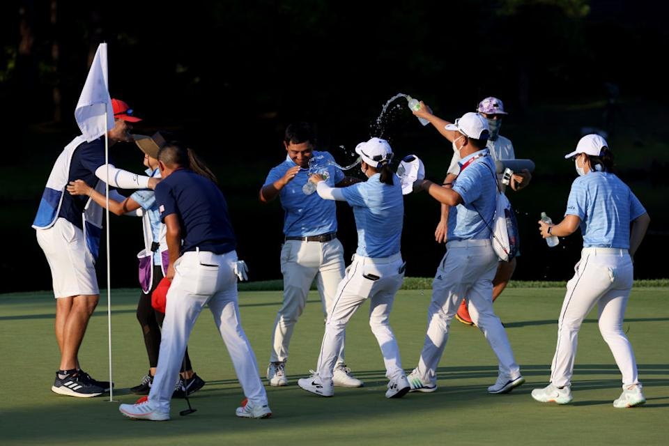 We were witness to an insane, seven-way Olympic golf playoff on Sunday, and it wasn't even to win the tournament. (Getty)