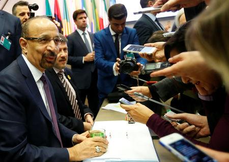 Saudi Arabia's Oil Minister Khalid al-Falih talks to journalists at the beginning of an OPEC meeting in Vienna, Austria December 6, 2018.   REUTERS/Leonhard Foeger