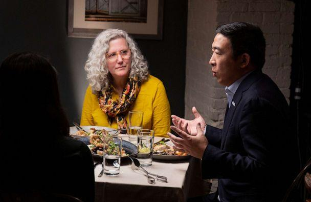PHOTO: Democratic presidential candidate Andrew Yang, right, talks during a dinner with Mara Novak and other voters, in New York, Dec. 4, 2019. (Arturo Holmes/ABC)