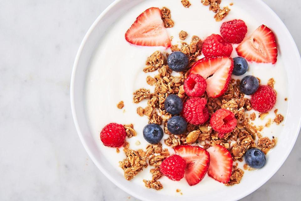 "<p>Making your own yogurt means you can control how much added sugar goes in there.</p><p>Get the recipe from <a href=""https://www.delish.com/cooking/recipe-ideas/a27059031/instant-pot-yogurt-recipe/"" rel=""nofollow noopener"" target=""_blank"" data-ylk=""slk:Delish"" class=""link rapid-noclick-resp"">Delish</a>.</p>"