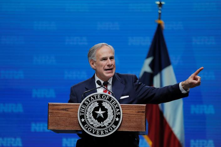 FILE PHOTO: Texas Governor Greg Abbott speaks at the annual National Rifle Association (NRA) convention in Dallas, Texas, U.S., May 4, 2018. REUTERS/Lucas Jackson