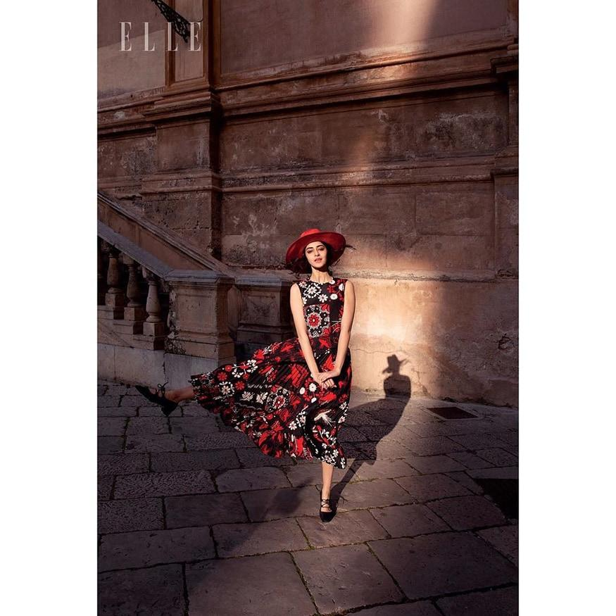 Ahead of making her big screen debut with 'Student of The Year 2', Ananya Panday created a splash with her magazine debut. The cover caused ripples on social media soon after it released and now, the inside pictures are creating a stir. The young starlet can be seen donning a Crepe black and red floral print dress which is accessorized with Suede shoes and red Straw hat. (Image: Special Arrangement)