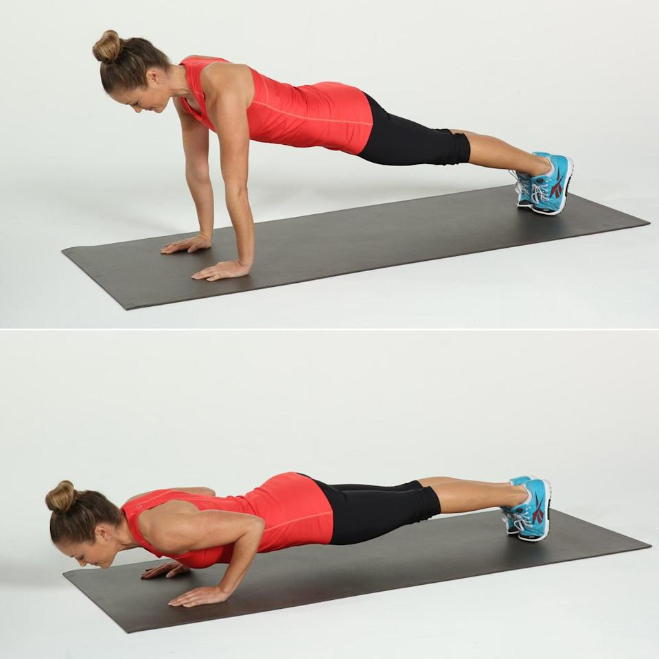 <ul> <li>Start in a plank position with your arms and legs straight, shoulders above the wrists.</li> <li>Keeping your upper arms parallel, bend your elbows lowering your chest until your shoulders are in line with your elbows. The elbows should touch your ribcage. Inhale to straighten the arms. This counts as one rep.</li> </ul>