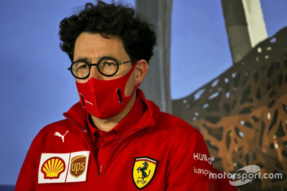"Mattia Binotto, Team Principal Ferrari in the press conference<span class=""copyright"">FIA Pool</span>"