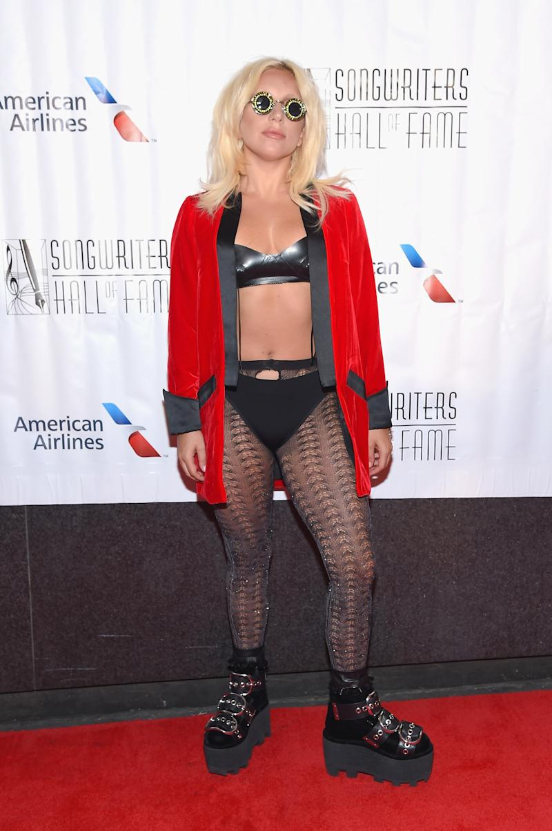 Lady Gaga at the Songwriter's Hall of Fame induction, channeling John Lennon by way of Alexander Wang.