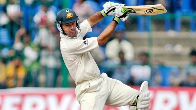 Ricky Ponting displaying the flamboyance of his batting.