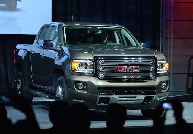 En enero de 2014 era exhibido el nuevo GMC Canyon en el North American International Auto Show, celebrado en Detroit, Michigan. Foto: Getty Images.