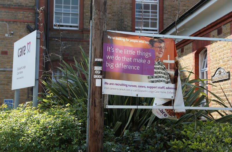 Signage outside the Elizabeth Lodge Care Home is seen in Enfield