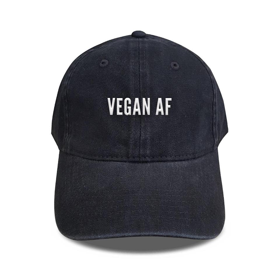 "<h2>Vegan AF Embroidered Baseball Cap</h2><br>It's cute, it lets em' know, and it's perfect for errand-filled weekends. <br><br><strong><em><a href=""https://www.etsy.com/shop/wondercappa?ref=simple-shop-header-name&listing_id=610996080"" rel=""nofollow noopener"" target=""_blank"" data-ylk=""slk:Shop Etsy"" class=""link rapid-noclick-resp"">Shop Etsy</a></em></strong> <br><br><strong>wondercappa</strong> Vegan AF Embroidered Baseball Cap, $, available at <a href=""https://go.skimresources.com/?id=30283X879131&url=https%3A%2F%2Fwww.etsy.com%2Flisting%2F610996080%2Fvegan-af-embroidered-baseball-caps%3F"" rel=""nofollow noopener"" target=""_blank"" data-ylk=""slk:Etsy"" class=""link rapid-noclick-resp"">Etsy</a>"
