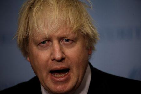 British Foreign Secretary Johnson speaks to reporters at UN headquarters in New York