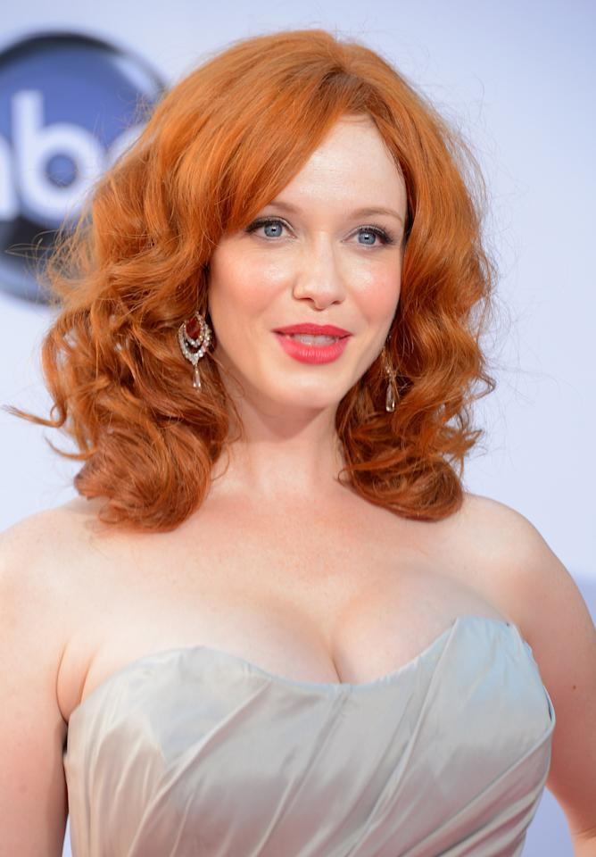LOS ANGELES, CA - SEPTEMBER 23:  Actress Christina Hendricks arrives at the 64th Annual Primetime Emmy Awards at Nokia Theatre L.A. Live on September 23, 2012 in Los Angeles, California.  (Photo by Frazer Harrison/Getty Images)