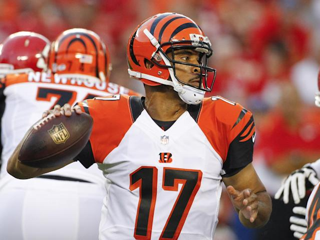 Cincinnati Bengals quarterback Jason Campbell looks for a receiver in the first half of an NFL preseason football game against the Kansas City Chiefs on Thursday, Aug. 7, 2014, in Kansas City, Mo. (AP Photo/Colin E. Braley)