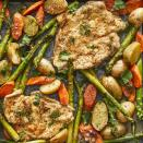 "<p>In this chicken and asparagus recipe, we use one baking sheet to whip up dinner quickly, veggies included. Pounding the chicken thin helps it cook quickly alongside the carrots and potatoes, with asparagus rounding out the meal. This is one quick dinner recipe you'll be returning to again and again. <a href=""http://www.eatingwell.com/recipe/278009/one-pan-chicken-asparagus-bake/"" rel=""nofollow noopener"" target=""_blank"" data-ylk=""slk:View recipe"" class=""link rapid-noclick-resp""> View recipe </a></p>"