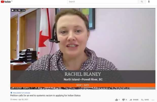 Rachel Blaney, NDP MP for North Island-Powell River, presents petition e-3281 to the House of Commons on April 30.