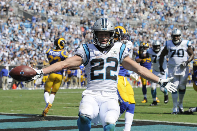 Carolina Panthers running back Christian McCaffrey had a pair of touchdowns in Week 1. (AP)