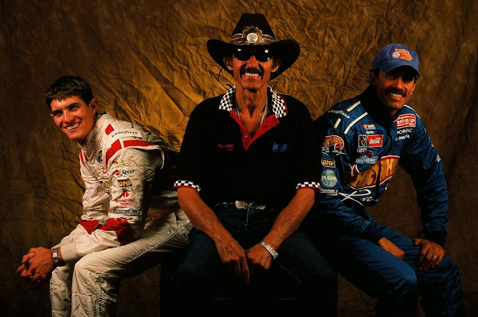 LEVEL CRISS, NC - SEPTEMBER 13: Richard Petty, Kyle Petty and Adam Petty pose for a photo on September 13, 1999 in Level Cross, North Carolina. (Photo by Sporting News via Getty Images via Getty Images)
