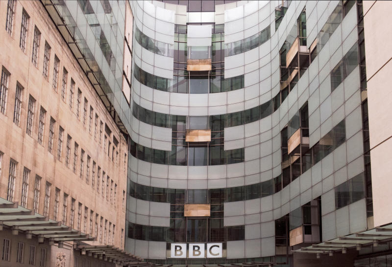 detail of the modern section of the Broadcasting House, headquarters of the BBC, with signage, in downtown London, England