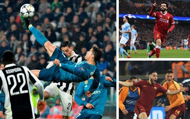 "With just hours to go before Liverpool take on Real Madrid in this year's Champions League final, our esteemed team of football writers select their favourite moments of the this season's competition. Ronaldo's moment of magic: Juventus v Real Madrid, quarter-final Cristiano Ronaldo's bicycle kick against Juventus was no hopeful spin in the air, but an almost mechanical gyration in which his body stayed remarkably straight. Usually players throw themselves like acrobats to perform overhead kicks - and curl their bodies - but Ronaldo was organised and linear in his movements. Adding lustre to the goal was that Real Madrid might have scored anyway, because Lucas Vasquez was in a heading position just behind Ronaldo's launch pad. But did anyone expect the megastar to leave the cross for a junior team-mate? Paul Hayward Salah announces his arrival: Porto v Liverpool, last 16 Mohamed Salah has created a European highlights reel of his own, but in the cauldron of Porto's Estadio do Dragao we witnessed a player taking his game to another level in this season's Champions League. European Cup final 2018 | Real Madrid vs Liverpool Sadio Mane scored a hat-trick in a 5-0 away win, but it was Salah's poise after a James Milner shot struck the crossbar, juggling the ball in the six yard box to manoeuvre his way to what seemed – but was far from – the simplest tap-ins, that was the lingering memory of the evening. His away goal at Manchester City may have been more important, and similarly expertly executed, but this moment signified Salah and his team mates were ready to hit greater heights. Chris Bascombe Salah strikes to sink City: Manchester City v Liverpool, last 16 The Egyptian's 39th goal of the season summed up the belief, composure and brilliance he has brought to Liverpool this season. They were on the ropes against Manchester City, despite their formidable first-leg advantage, but Salah's goal killed off the comeback. The unerring assuredness he showed amid the maelstrom of flying bodies to dink his left-foot shot from a tight angle into the net was remarkable. Once again he was at the right place at the right time. Then there was the motionless celebration, arms out wide, before he was mobbed. Again it summed up the season he has had as Salah remained the calmest man in the stadium. Jason Burt How Mo Salah became the slowest-burning overnight sensation in English football history Oxlade-Chamberlain wonder-strike: Liverpool v Manchester City, quarter-final When the ball landed at Alex Oxlade Chamberlain's feet 30 yards from goal in the 20th minute of Liverpool's tie with Manchester City at Anfield, nobody could have imagined what would happen next. Certainly not the Liverpool fan sitting in front of the press box who was imploring him to pass the ball to Salah, or Firmino, or anyone else. Because surely the Ox would only given possession away. But he didn't do that. Instead he unleashed a magnificent, ferocious drive that arced away from Ederson in the City goal, sending the fans giddy with delight. And leaving the man in the stand exhibiting the kind of look of gleeful astonishment he can not have worn since he was nine years old and opened his Christmas present to discover he had, after all, been given exactly what he wanted. Jim White Manolas completes Roma's epic comeback: Roma v Barcelona, quarter-final While most fans chose to watch Manchester City's futile attempts to overturn a three-goal deficit to Liverpool, one of the great European comebacks was happening elsewhere. At the Stadio Olimpico, Roma beat Barcelona 3-0, and the scenes that met Kostas Manolas' 82nd minute tie-turner saw the kind of pure unbridled joy that is saved only for nights like this. Roma's players were as shocked as anyone that they had pulled this result off, and the entire bench rushed onto the field to celebrate, while supporters in the stands went fittingly ballistic. Alistair Tweedale Kostas Manolas' goal turned the tie against Barcelona Credit: AFP Mourinho's 'heritage' rant: Manchester United v Sevilla, last 16 Manchester United's 2-1 defeat at home to Sevilla was a stand-out moment for all the wrong reasons. United's goalless draw away in the first leg, when Jose Mourinho's side were flat and ultimately indebted to a stunning save from David De Gea to avert defeat, was not a good result. But few could have imagined United would deliver such a wretched display in the second leg that eventually gave way to Mourinho's extraordinary ""heritage"" rant in which he attempted to blame everyone but himself for the shambles. James Ducker Ronaldo's moment of magic (again): Juventus v Real Madrid, quarter-final Real Madrid have led a charmed life in their quest for a hat-trick of Champions League titles but have reached the final the hard way via a difficult draw and, with his overhead kick in the quarter-final first leg against Juventus, Cristiano Ronaldo scored a goal that will be remembered for decades. Children all over the world would have woken up the next day trying to replicate a skill that would have been the result of years of dedication. Jeremy Wilson How Cristiano Ronaldo scored one of the most spectacular goals in Champions League history Ronaldo keeps his cool: Real Madrid v Juventus, quarter-final The overhead kick in the first leg was more spectacular, but everything about this tie-winning penalty was pure, unadulterated Ronaldo. He was forced to wait to take it due to the Juventus protests (and red card for Gianluigi Buffon), and he then had to endure their attempted provocation, but the ultimate killer was in his natural habitat. A kiss of the ball. A puff of the cheeks. A darting run up. Full power. Top corner. Game over. Shirt off. Job done. Sam Dean El Shaarawy begins with a bang: Roma vs Chelsea, group stage The mercurial Roma winger exasperates as often as he delights but his exquisite technique pardons his flamboyant profligacy. What was so great about his venomous, swerving half-volley from 20 yards after 38 seconds of Roma's home group tie was not only the impudence to lash it with the outside of his foot to flummox Thibaut Courtois but also his determination to beat Marcos Alonso to the lay-off. Not such a flake after all. Rob Bagchi How Liverpool can beat Real Madrid in Champions League Final PSG's magnificent seven: PSG v Celtic, group stage As a fan of a Scottish non-Old Firm team, I watch Celtic's annual group stage wallopings with a mixture of sympathy, schadenfreude and concern about coefficients. The gulf between the Scottish champions and the actual good teams was as big as ever: beaten 5-0 at home by PSG, 3-0 in Munich and the crowning glory, 7-1 in Paris - having taken the lead in the first minute. Some Celtic folk, apparently without irony, moaned about wage bill disparities. Alan Tyers Messi's video-game brilliance: Barcelona v Chelsea, last 16 You know what he's about to do - you're watching highlights after all - but Lionel Messi is like a cheat player on a video game, attributes all at 99, running through people, hitting the top corner every time, firing low shots between the legs of Thibaut Courtois at the near post because in the split second he has to decide, that's what Messi opts for. The second goal in that 3-0 win, with Messi poking the ball past one defender at full speed, then another, then celebrating Ousmane Dembele's thunderbolt as though he'd scored it himself was nice, but his second goal, the third of the game, was ridiculous. They say when you're in a car crash everything happens in slow motion but I can only imagine what goes through the mind of a defender as Messi stops-starts-ducks-dives and nips past you. Before you even realise what's happened he's placed the shot perfectly between Courtois' legs again, it's 3-0 and Barcelona are through. JJ Bull Credit: Reuters Chiellini's heroics: Tottenham v Juventus, last 16 As Tottenham went desperately seeking an equaliser against Juventus at Wembley, Harry Kane steadied himself for a simple tap-in. But then out of nowhere, Giorgio Chiellini charged back and slid in to clear the ball away. The clearance was good, but the celebration was sensational as Gianluigi Buffon and Chiellini pressed their foreheads together and roared at one another approvingly. Chiellini then fist bumped Andrea Barzagli's hand and clapped his team-mates. We know Italians love defending, but this was something else. Charlie Eccleshare"