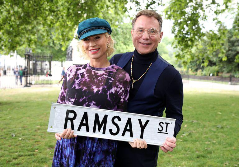 Denis Van Out and Richard Arnold filming Neighbours in London (Channel 5)