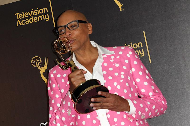 "RuPaul after winning the 2016 Emmy for "" Outstanding Host of a Variety, Nonfiction Or Reality Program."""