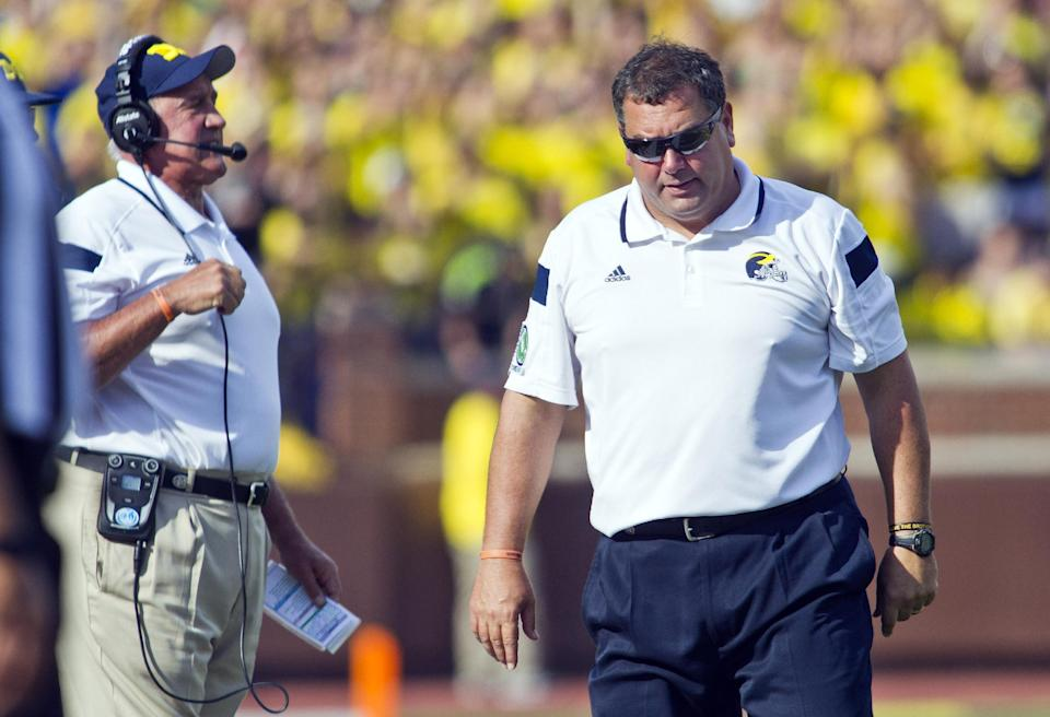 Michigan's Brady Hoke reacts on the sideline during his team's loss to Minnesota. (AP)