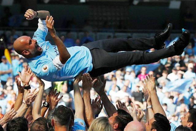 """Premier League champions Manchester City are driven by manager Pep Guardiola's """"relentless"""" desire for success and will be even hungrier for trophies next season, club chairman Khaldoon Al Mubarak has said."""