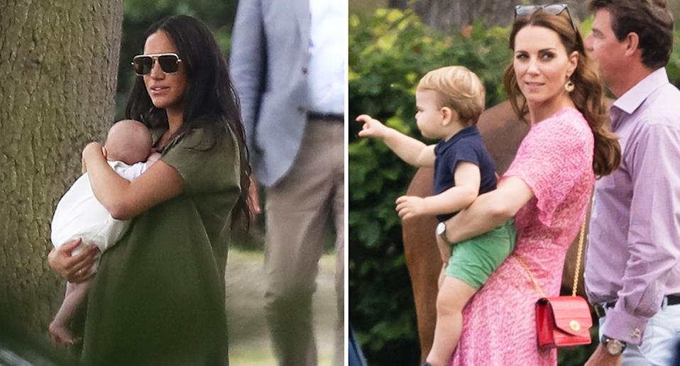 Meghan Markle with baby Archie; Duchess Kate with Prince Louis.  [Photo: Getty/PA]