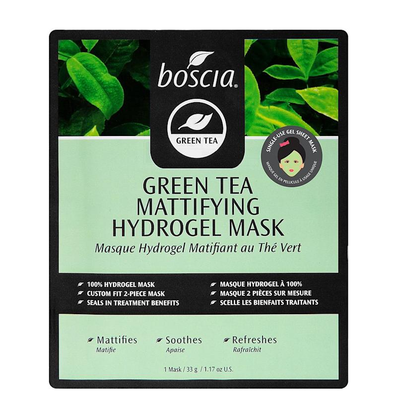 "This mask by Boscia contains green tea (<a href=""https://www.huffingtonpost.com/2011/12/09/skin-care-ingredients_n_1137682.html"" target=""_blank"">a botanical antioxidant</a>), to help reduce excess oil, and marine collagen, which soothes and refreshes. <br /><br /><strong><a href=""http://www.boscia.com/shop/product_detail.php?products_id=207"" target=""_blank"">Get the Boscia Green Tea Mattifying Hydrogel Mask for $6.00</a></strong>"