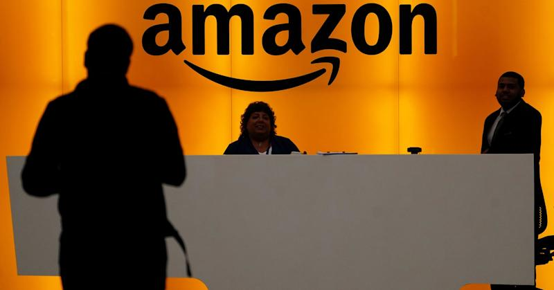 The front desk of the Amazon office is pictured in New York, May 1, 2019.
