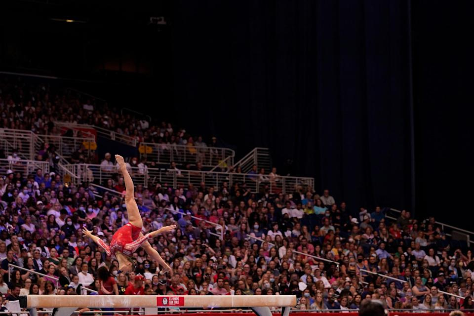 Grace McCallum competes on beam during the women's U.S. Olympic Gymnastics Trials on June 27, 2021, in St. Louis, Missouri.