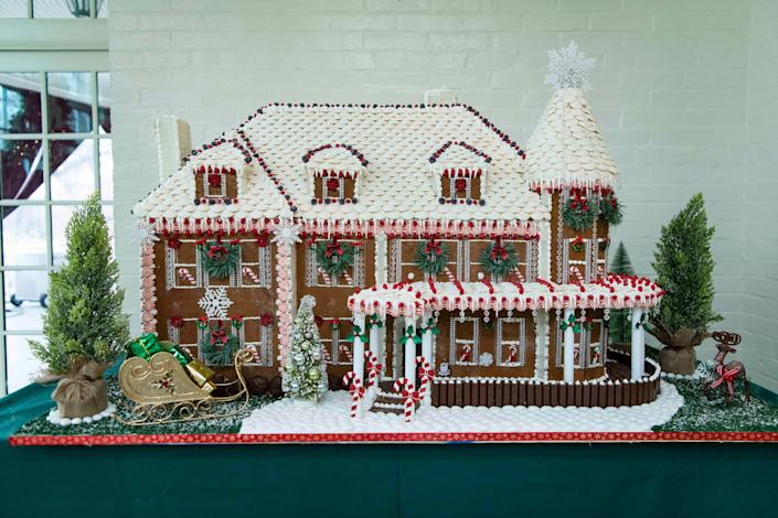 A gingerbread version of 1 Observatory Circle, the official residence of Vice President Mike Pence and Second Lady Karen Pence sits in the sun room.