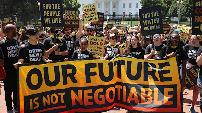 Hundreds of young climate activists  rally in Lafayette Square on the north side of the White House to demand that U.S. President Joe Biden work to make the Green New Deal into law on June 28, 2021 in Washington, DC. (Chip Somodevilla/Getty Images)