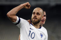 FILE - In this photo taken on Nov. 18, 2019, Finland's Teemu Pukki celebrates after scoring the opening goal during the Euro 2020 group J qualifying soccer match between Greece and Finland at Olympic stadium in Athens, Greece. (AP Photo/Thanassis Stavrakis, File)