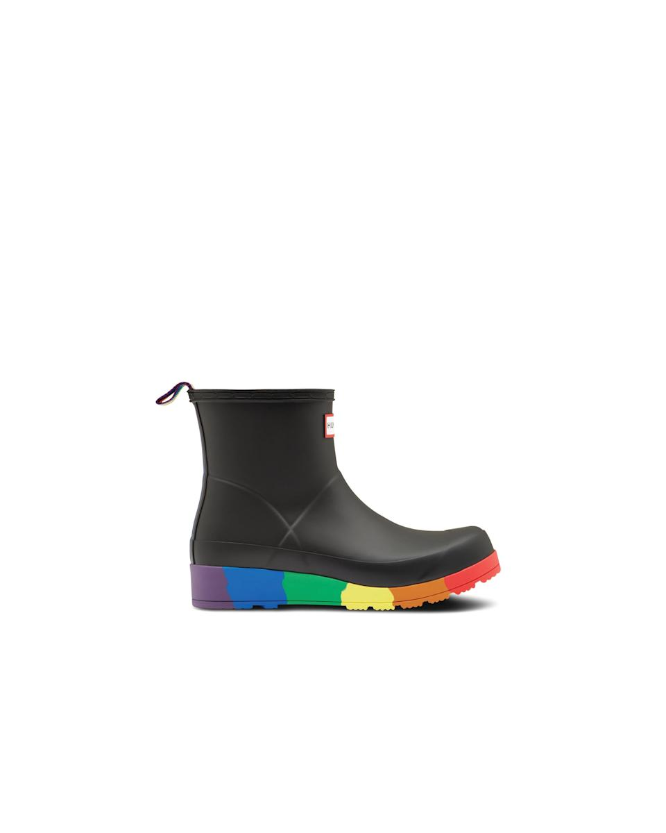"<h3><a href=""https://www.hunterboots.com/us/en_us/"" rel=""nofollow noopener"" target=""_blank"" data-ylk=""slk:Hunter"" class=""link rapid-noclick-resp"">Hunter</a> </h3> <br><br>In celebration of Pride month, Hunter sought out five members of the LGBTQ+ community to feature in their campaign, including London-based entertainer, ShayShay; Tia Simon-Campbell, co-founder of BBZ; host of BBC Radio 1's Drag Queen Den, Glyn Fussell; Mexican-based gender-neutral model, Jay Espinosa; and Transgender dancer Lucy Fizz. All five have chosen a charity that means something to them individually, to which, the proceeds from Hunter's limited-edition Pride rain boots will be donated.<br><br><strong>Hunter</strong> Original Pride Play Flatform Rain Boots, $, available at <a href=""https://go.skimresources.com/?id=30283X879131&url=https%3A%2F%2Fwww.hunterboots.com%2Fus%2Fen_us%2Fwomens-short-rain-boots%2Foriginal-pride-play-flatform-rain-boots%2Fblack%2F5949%23locklink"" rel=""nofollow noopener"" target=""_blank"" data-ylk=""slk:Hunter"" class=""link rapid-noclick-resp"">Hunter</a><span class=""copyright"">Photo Courtesy of Hunter.</span><br><br>"