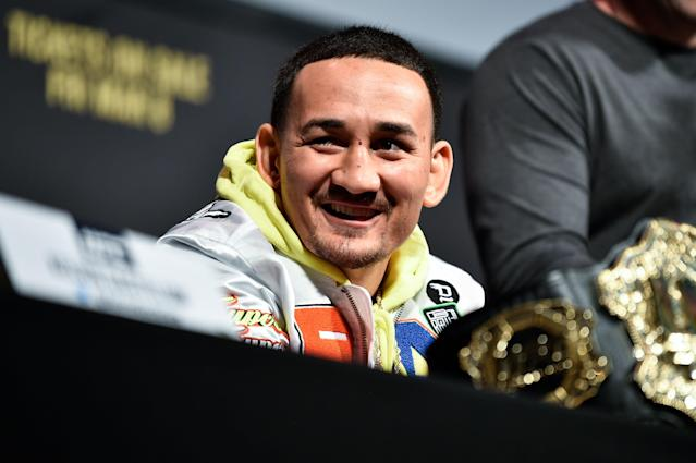 Max Holloway interacts with media during the UFC 236 news conference inside T-Mobile Arena on March 1, 2019 in Las Vegas. (Getty Images)