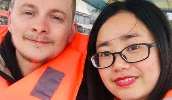 Matthew Moore and wife Huang Quan Xiang were refused a meal in a Chinese restaurant and asked to leave over coronavirus fears. (Picture: SWNS)