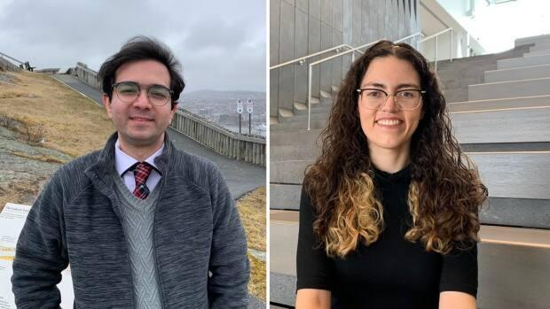 Bazmi Saman and Mariana Esquivel Suarez are graduate students who live at Memorial University's Signal Hill campus. (Zach Goudie/CBC - image credit)