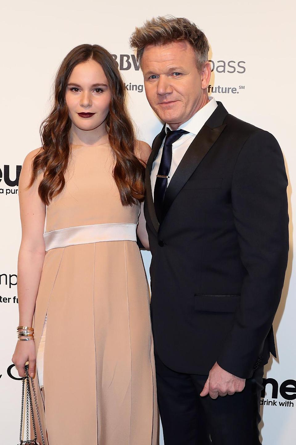 <p>TV Personality Gordon Ramsay (R) and Holly Anna Ramsay (L) attends the 25th Annual Elton John AIDS Foundation's Oscar Viewing Party at The City of West Hollywood Park on February 26, 2017 in West Hollywood, California. (Photo by Frederick M. Brown/Getty Images) </p>