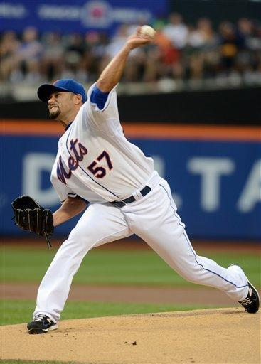 New York Mets' Johan Santana pitches for the first time since July 20 in the first inning of a baseball game against the Atlanta Braves at Citi Field in New York, Saturday, Aug. 11, 2012. (AP Photos/Henny Ray Abrams)