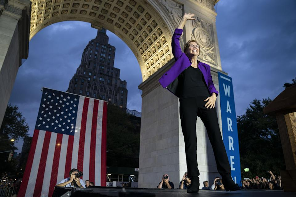 Democratic presidential candidate Sen. Elizabeth Warren (D-MA) arrives for a rally in Washington Square Park on Sept.16, 2019 in New York City. Warren unveiled a sweeping anti-corruption plan earlier on Monday.
